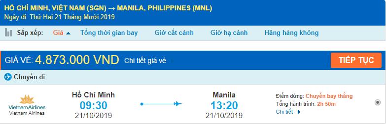 Giá vé máy bay đi Philippines từ Hồ Chí Minh