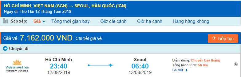 Vé máy bay đi Hàn Quốc từ Hồ chí minh