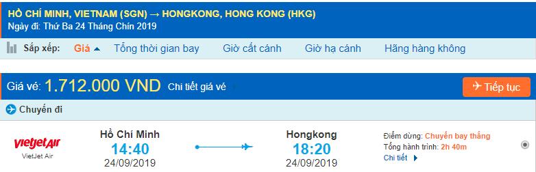 Vé máy bay Sài Gòn Hongkong Vietjet Air