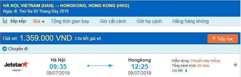 Vé máy bay đi Hong Kong từ Hà Nội Jetstar Pacific