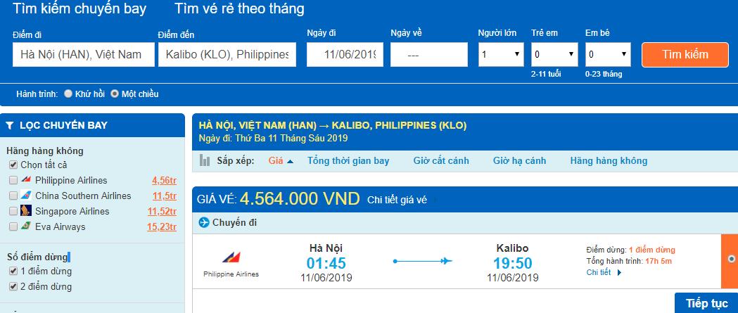 Giá vé máy bay từ Hà Nội đi Boracay