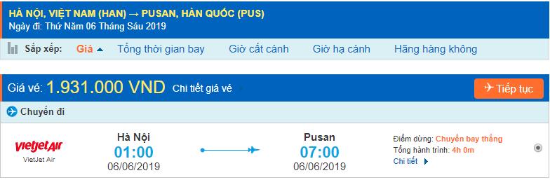 Giá vé máy bay đi Hàn Quốc Busan Vietjet