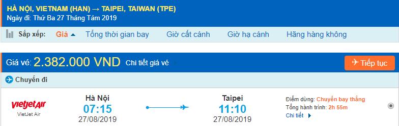 Vé máy bay đi Đài Bắc từ Hà Nội Vietjet