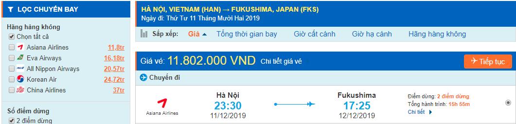 Vé máy bay đi Fukushima từ Hà Nội