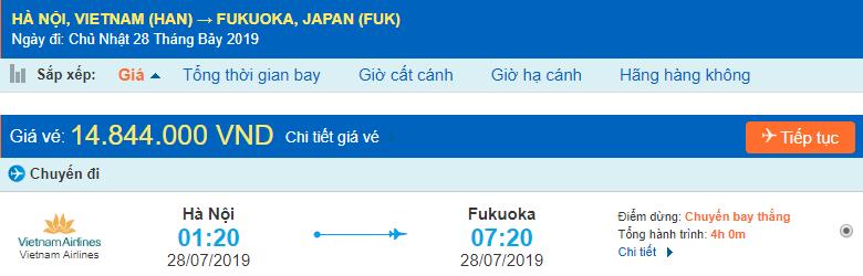 Vé máy bay đi Fukuoka từ Hà Nội