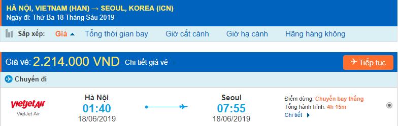 Vé máy bay giá rẻ đi Incheon từ Hà Nội