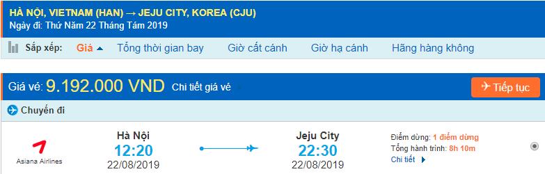 Vé máy bay đi Jeju từ Hà Nội