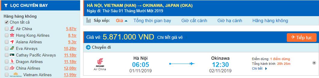 Vé máy bay đi Okinawa từ Hà Nội