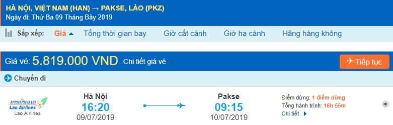 Giá vé máy bay từ Hà Nội đi Pakse