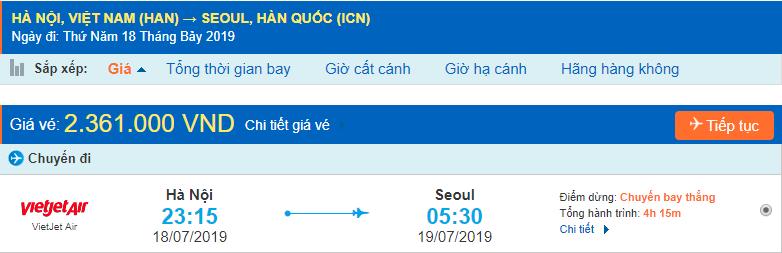 Giá vé máy bay đi Hàn Quốc Vietjet Air từ Hà Nội