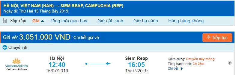 Vé máy bay Hà Nội đi Siem Reap
