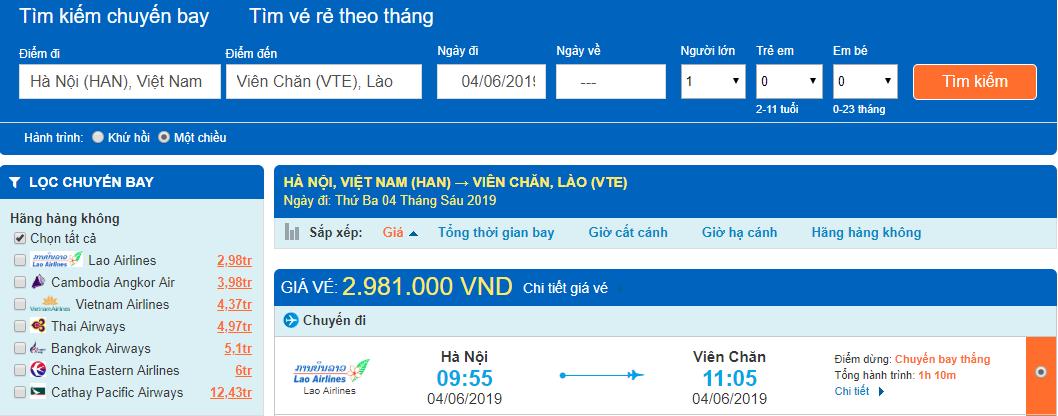 Giá vé máy bay Hà Nội đi Viêng Chăn