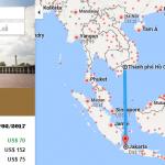 Bản đồ đường bay chặng HCM - Jakarta, Indonesia