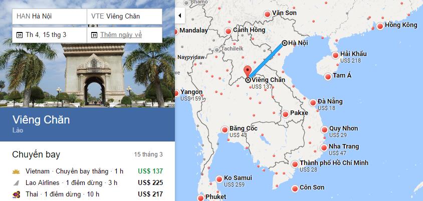 Bản đồ đường bay chặng HN - Viêng Chăn, Lào