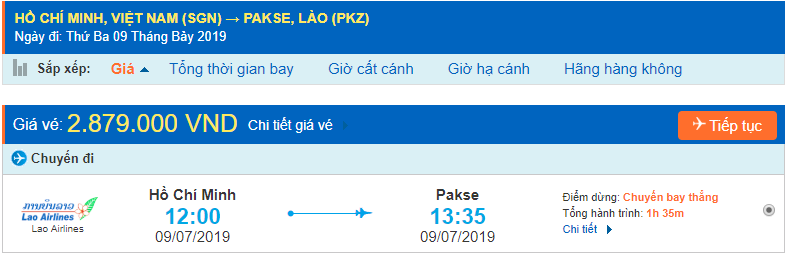 Vé máy bay từ Hồ Chí Minh đi Pakse