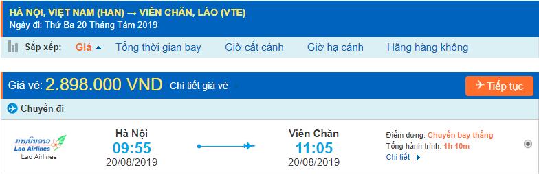 Vé máy bay đi Lào Viêng Chăn từ Hà Nội