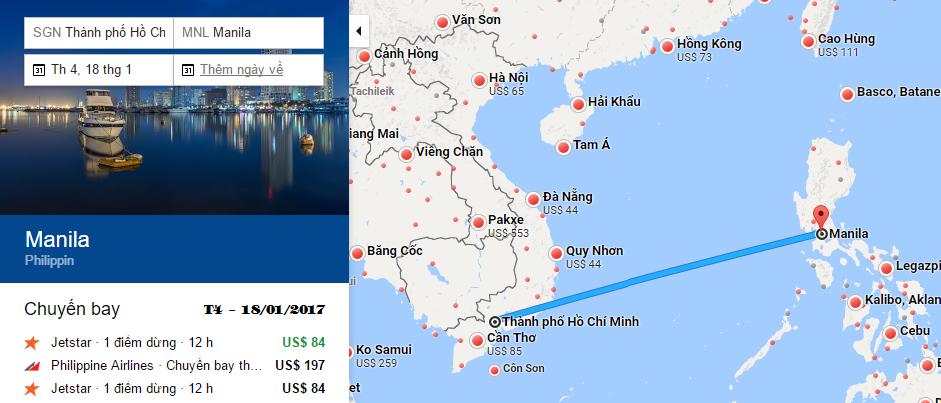 Bản đồ đường bay chặng HCM - Manila, Philippines