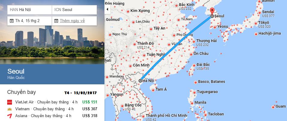 Bản đồ đường bay từ Hà Nội đến Seoul