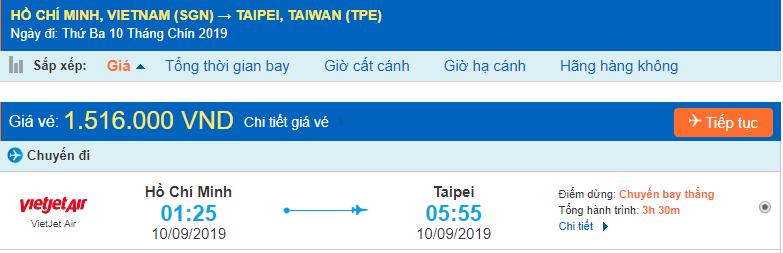 Vé máy bay đi Sài Gòn Taipei