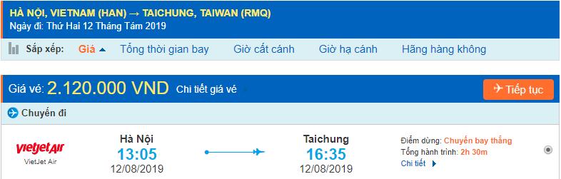 Vé máy bay đi Đài Trung từ Hà Nội