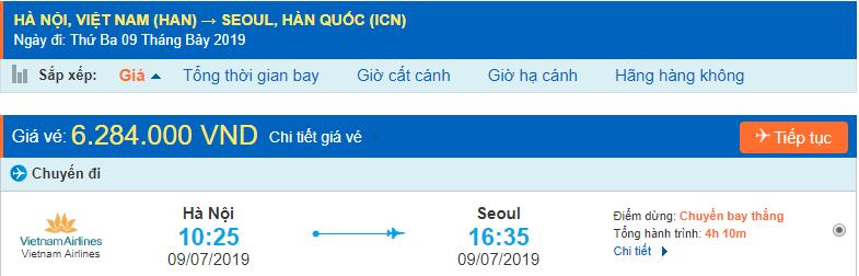 Giá vé máy bay đi Hàn Quốc từ Hà Nội Vietnam Airlines