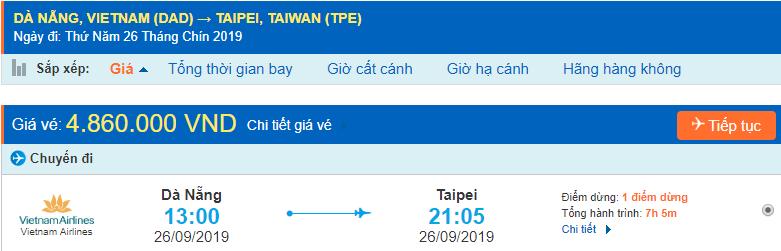 Vé máy bay đi Đài Loan từ Đà Nẵng