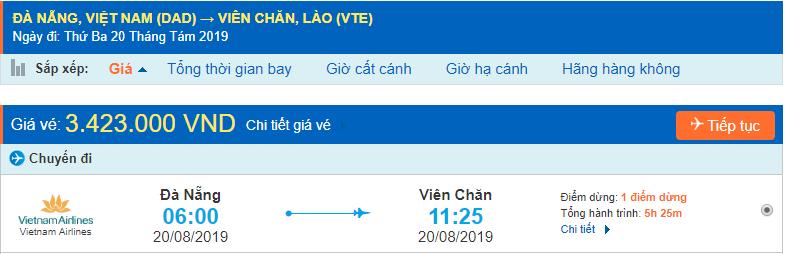 Vé máy bay đi Lào từ Đà Nẵng
