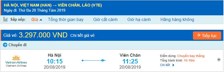 Giá vé máy bay đi Lào Viêng Chăn từ Hà Nội