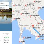 Bản đồ đường bay chặng HCM - Siem Reap, Campuchia