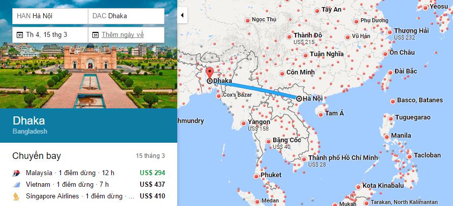 Bản đồ đường bay chặng Hà Nội - Dhaka, Bangladesh