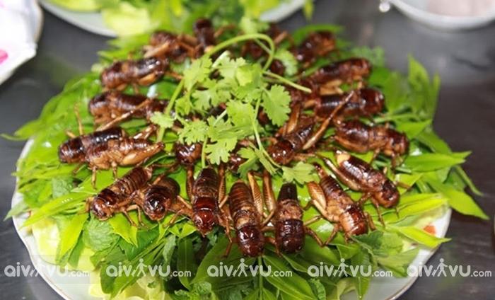 Dế chiên tẩm ớt một trong những món ăn phổ biến tại Siem Reap