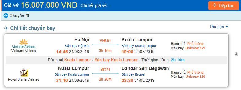 Giá vé máy bay đi Brunei từ Hà Nội