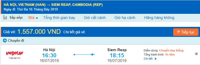 Vé máy bay Hà Nội đi Siêm Riệp Vietjet Air