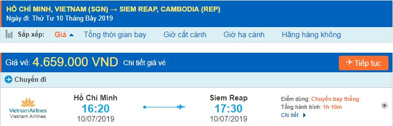 Vé máy bay Sài Gòn Siem Reap