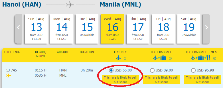Giá vé Hà nội -Manila của Cebu Pacific