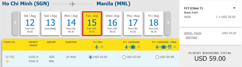 Bảng giá KM hành trình HCM đi Manila 59 USD
