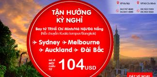 Giá vé máy bay đi Taipei chỉ từ 104 USD