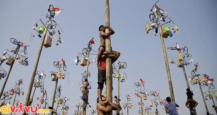 Lễ hội trèo cau bôi mỡ khá kì lạ của Indonesia