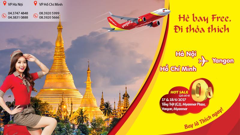 Vé Vietjet Air chỉ từ 0Đ đi Myanmar