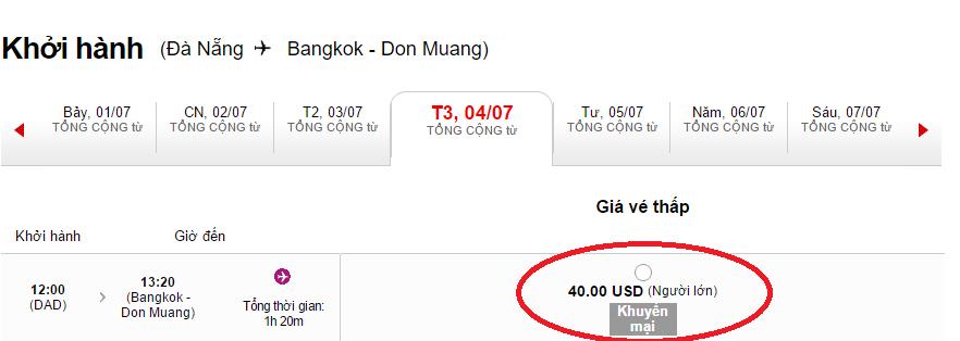 giá vé chỉ từ 40 USD đi Bangkok