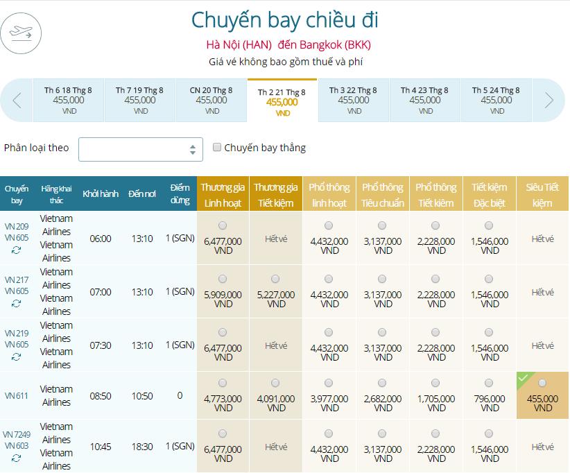 Bảng giá chiều đi từ Hà Nội tới Băng Cốc