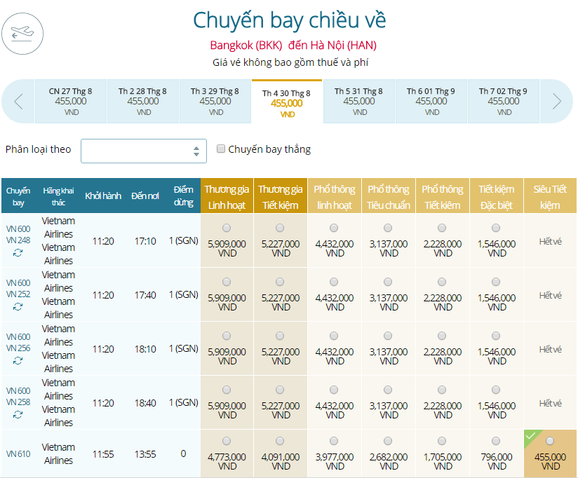 Bảng giá chiều về từ Băng Cốc tới Hà Nội