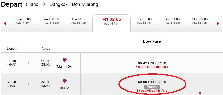 giá vé đi Bangkok giảm 50%