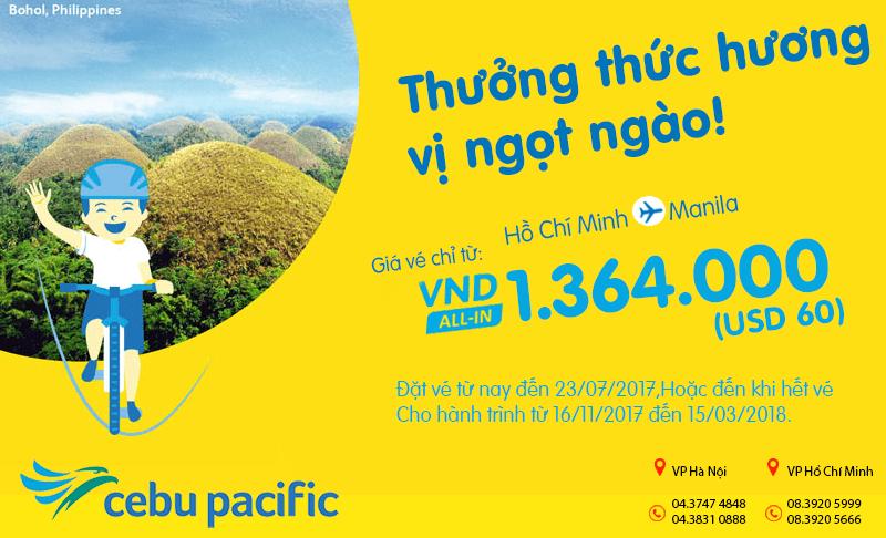 vé bay HCM - Manila chỉ từ 60 USD
