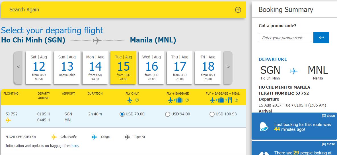 Tham khảo vé máy bay HCM- Manila