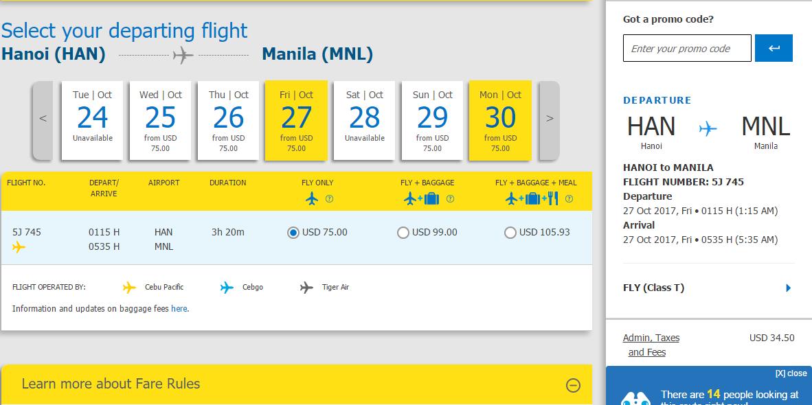 Tham khảo hành trình Hà nội - Manila
