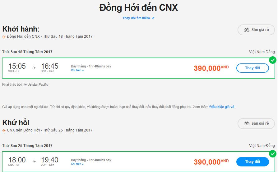 Mẫu giá vé hành trình Đồng Hới – Chiang Mai