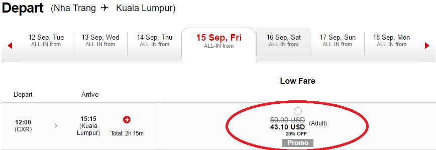 mẫu giá vé Nha trang đi Kuala Lumpur giảm 20%