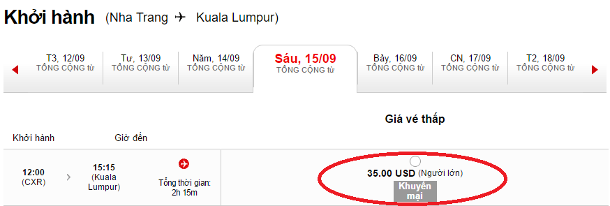 Mẫu giá vé Air Asia chỉ từ 35 USD.