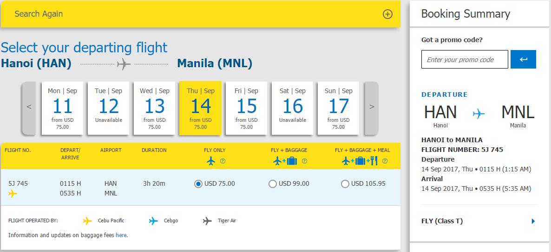 Tham khảo bảng giá vé máy bay của Cebu Pacific.